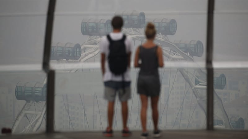 Tourists look at the Singapore Flyer observatory wheel shrouded by haze from Indonesia [Reuters]