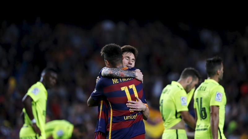 Messi and Neymar helped Barcelona go two points clear at the top [Reuters]