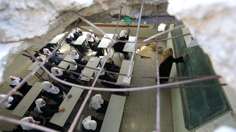 In the Gaza Strip at least 281 schools had been damaged, and eight 'completely destroyed', the UN said [Reuters]