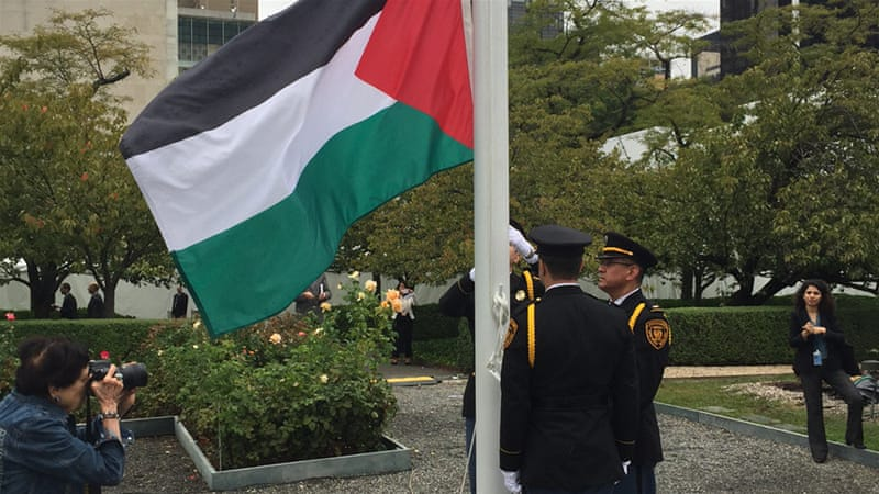 palestinian flag raised at un for first time palestine news al