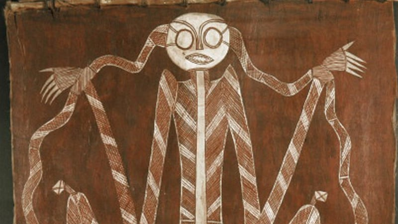 Bark painting from western Arnhem Land, depicting one of the supernatural beings of the Dreamtime, Australia [Getty]