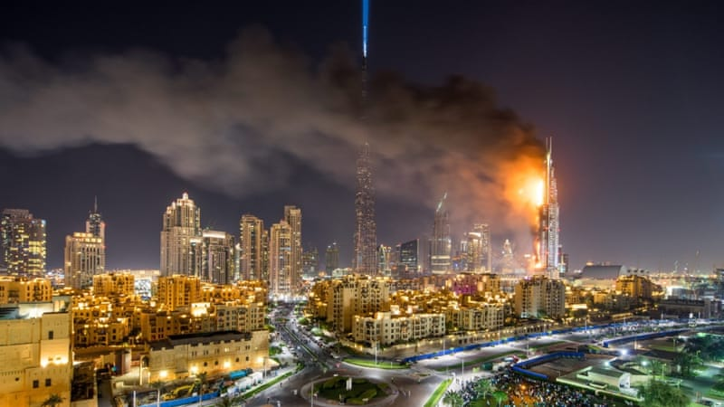 Reports said at least 16 people were hurt following the blaze in Dubai [EPA]