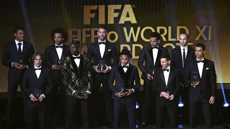 The FIFA FIFPro World XI: Neuer, Silva, Marcelo, Ramos, Alves, Iniesta, Modric, Pogba, Messi, Neymar and Ronaldo [AFP]