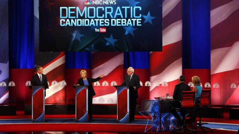 Niceties disappeared on Sunday night as the US Democratic presidential candidates launched verbal attacks [Randall Hill/Reuters]