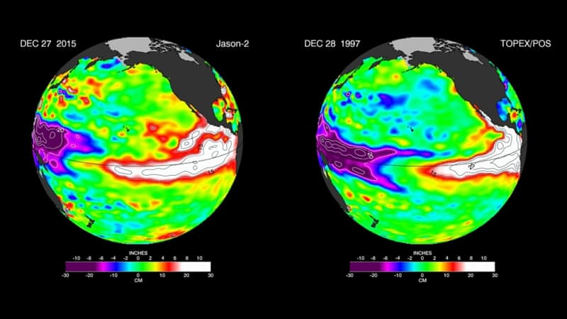 NASA images compare warm Pacific Ocean water temperatures from the 1997 El Nino, with those experienced during the current El Nino [AP]