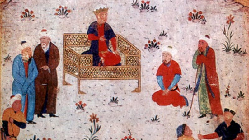 Alexander the Great holding court in China, 4th century BC. Illustration after a Persian manuscript made in the Middle Ages or later [Getty]