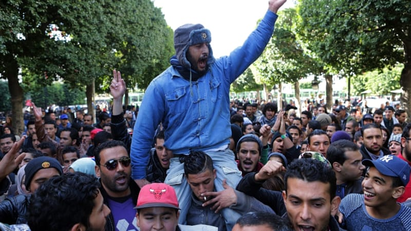 Protests in Tunis, Kasserine and elsewhere were driven by frustration over the economy and political stagnation [Mohamed Messara/EPA]