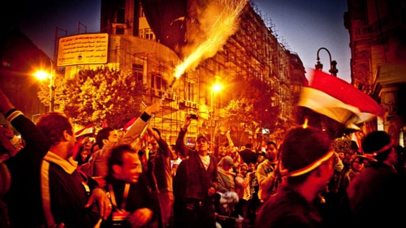 Celebrations off Tahrir Square in downtown Cairo (2011) [Getty]