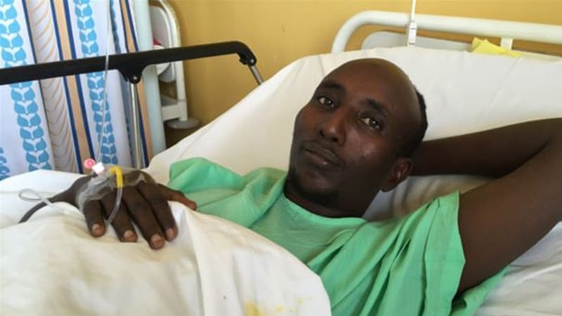 Farah was shot after refusing to be separated from Christian passengers during an al-Shabab bus attack [Jill Craig/VOA]