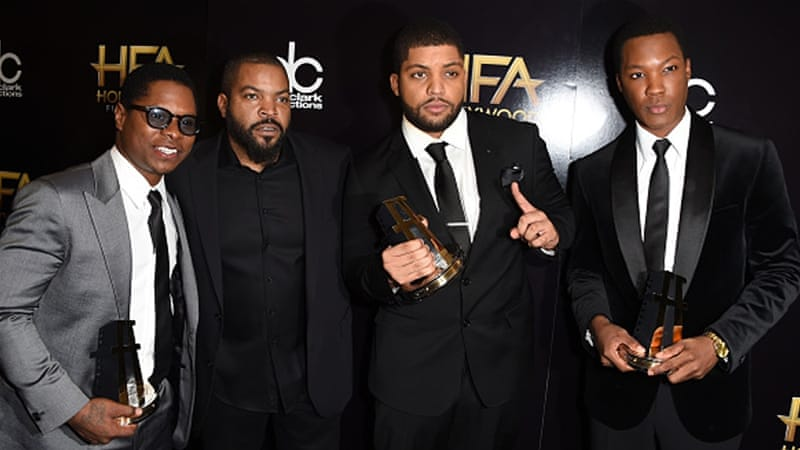 Actors from Straight Outta Compton with rapper Ice Cube in the press room during the Hollywood Film Awards last November [Getty]