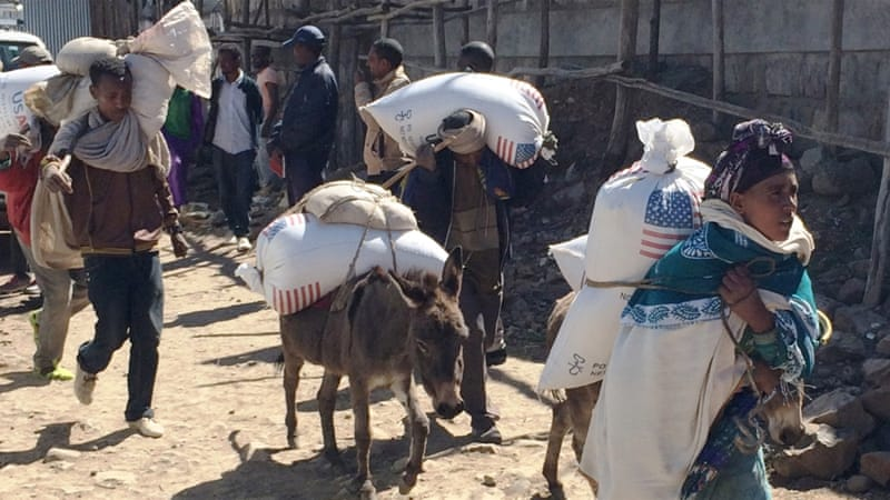 Families begin their journey home from the Estayesh food distribution site in Denkena Kebele, Meket Woreda, Ethiopia [AP]