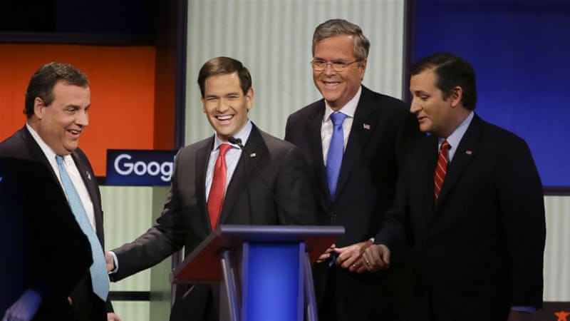 The Republican candidates largely sidestepped direct confrontations with each other [Charlie Neibergall/AP]