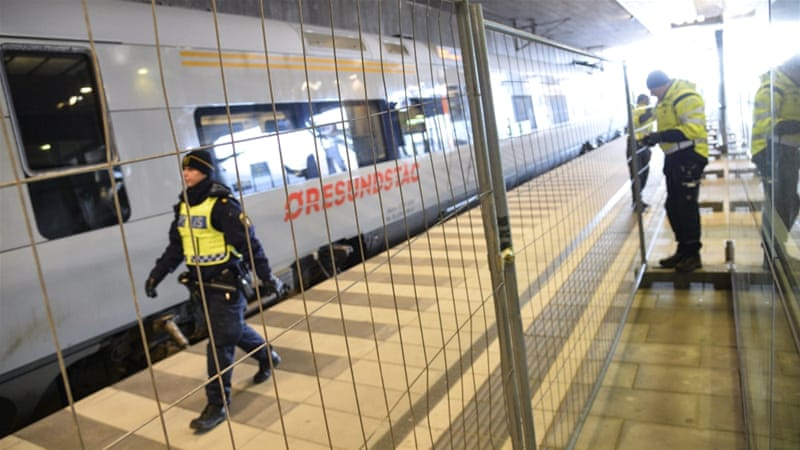 Fences have been mounted to separate domestic and international travellers at Malmo train station [EPA]
