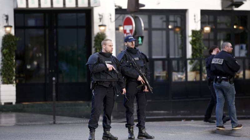 "French police secure the area after a man reportedly tried to enter police station shouting ""Allahu Akbar"" (God is great) on the anniversary of the Charlie Hebdo attack [Charles Platiau/Reuters]"