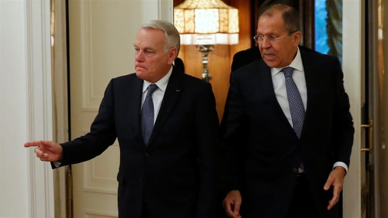 "Ayrault: ""We do not agree with what Russia is doing, bombarding Aleppo"" [Maxim Shemetov/Reuters]"