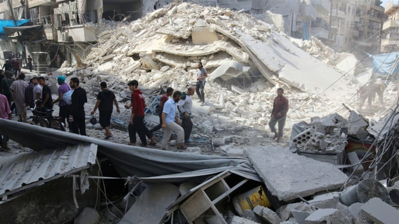 Air raids continued on Thursday in rebel-held half of Aleppo, as the death toll for two days reaches 99 [Reuters]