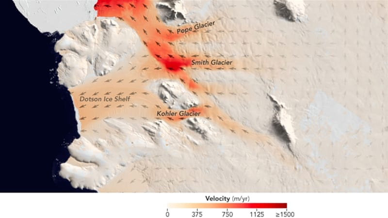 A large glacier in West Antarctica lost up to half a kilometre in thickness in seven years [AFP]