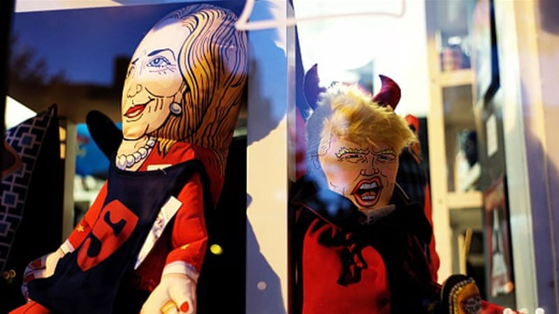 Dolls depicting Donald Trump and Hillary Clinton in Washington, DC [Getty]