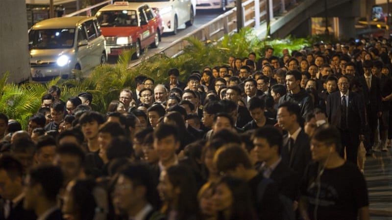 Protesters have come out in Hong Kong against what they call 'judicial interference' from Beijing [EPA]
