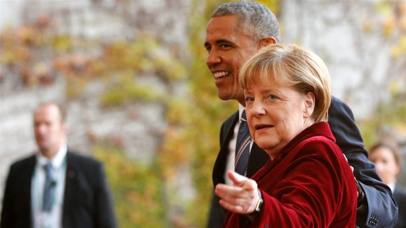 It was the final meeting of Obama and Merkel as peers on the world stage [Reuters]