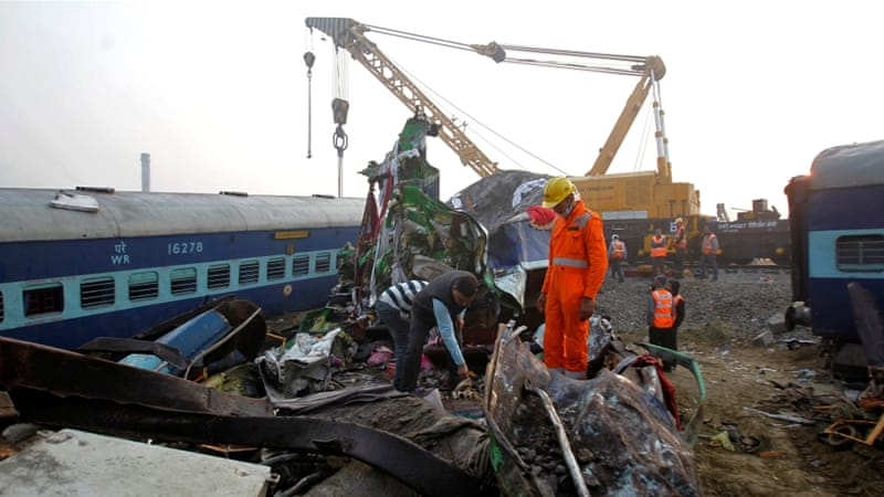 Sunday's derailment was India's deadliest train crash since 2010 [Reuters]