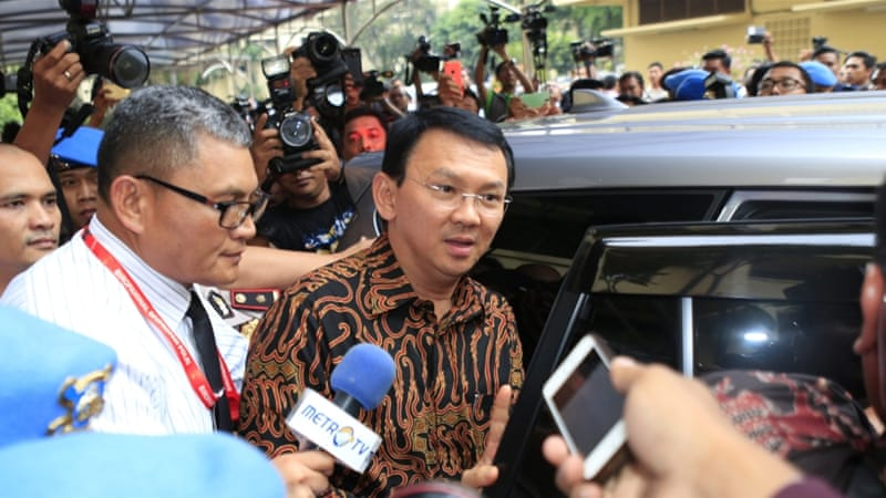 Jakarta Governor Basuki Tjahaja 'Ahok' Purnama is under investigation for an alleged crime of blasphemy [EPA]