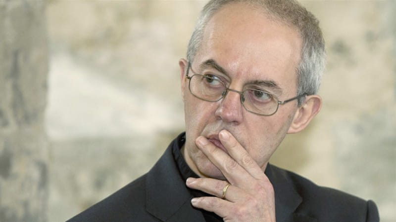The Archbishop of Canterbury Justin Welby speaks during a news conference at Lambeth Palace in London February 2014 [Reuters]