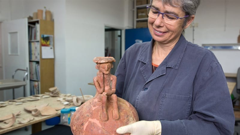 Nearly 4,000-year-old figure was discovered recently in excavations east of Tel Aviv [Menahem Kahana/AFP]