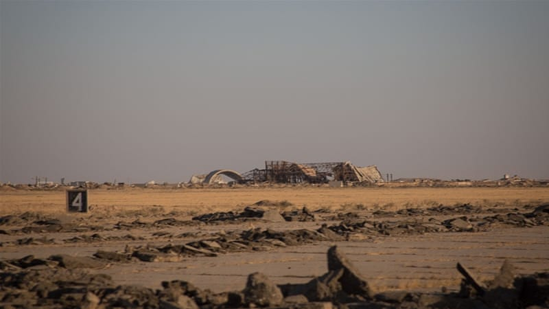 ISIL retreated relinquishing a runway that looks as if it will never again see a plane and dozens of booby-trapped IEDs [John Beck/Al Jazeera]