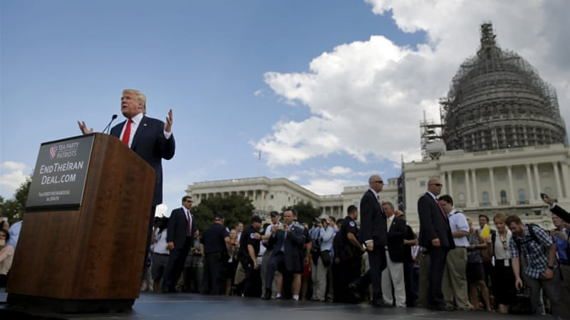 In this file photo, Donald Trump addresses a Tea Party rally against the Iran nuclear deal at the US Capitol in Washington September 9, 2015 [Reuters]