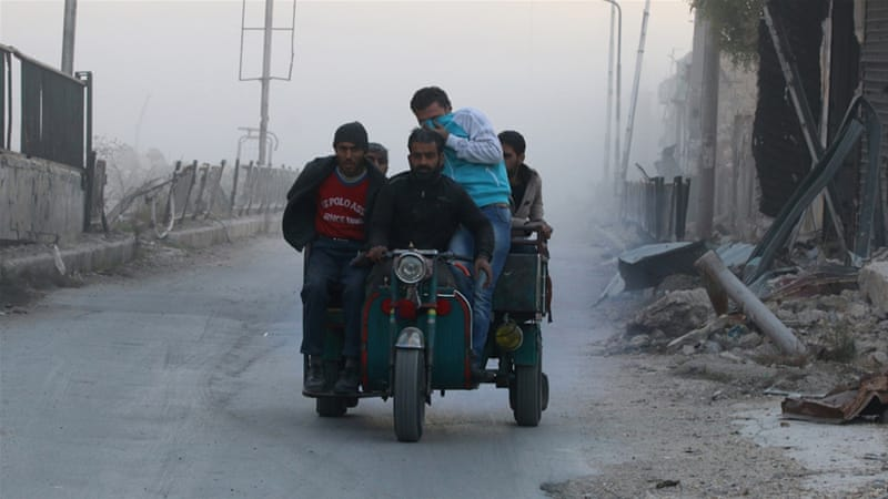 The Syrian government intensified its campaign to retake the rebel-held eastern half of the city two weeks ago [AP]