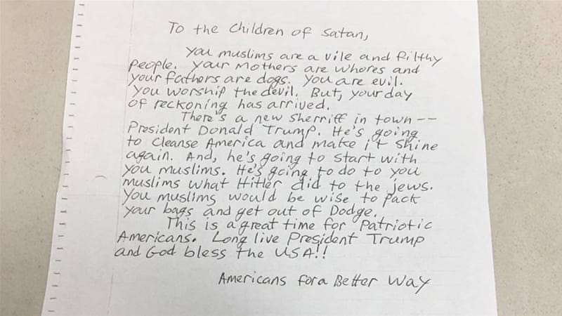 Letter threatening genocide sent to several us mosques news al letter threatening genocide sent to several us mosques spiritdancerdesigns Choice Image