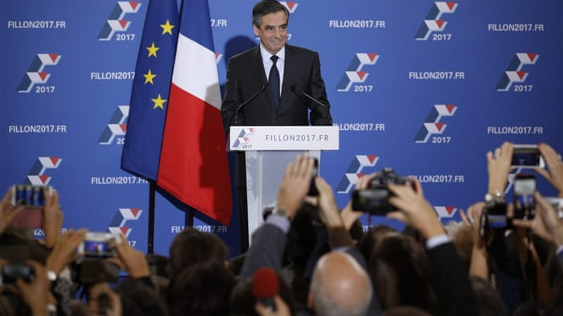 On many societal issues, Francois Fillon appeared as a milder, more reasonable version of Marine Le Pen, writes Piet [EPA]