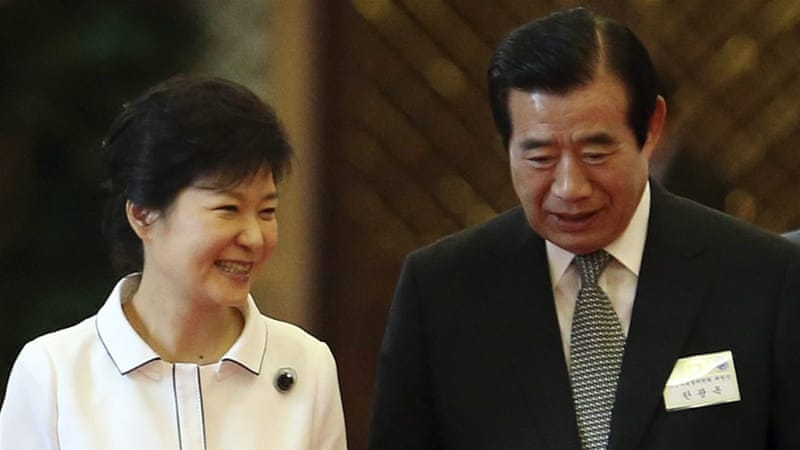 Park, left, has seen her approval ratings plunge as a result of the scandal [EPA] [EPA]