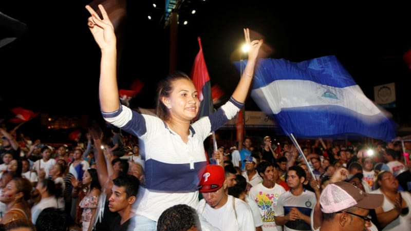 Supporters of Nicaragua's President Daniel Ortega flock to the streets of the capital to celebrate [Reuters]