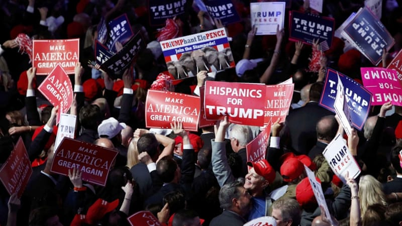 Trump supporters celebrate as election results come in before the rally for Republican US presidential nominee Donald Trump in New York, November 8 [Reuters]