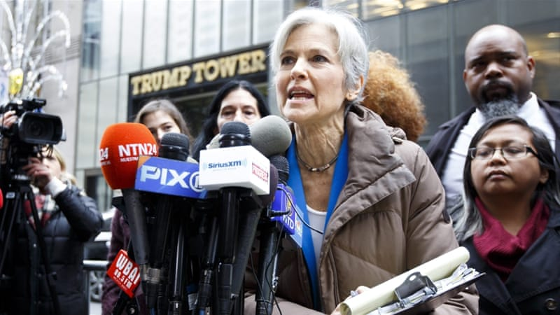 Green Party candidate Jill Stein had led efforts for recounts in Michigan, Wisconsin and Pennsylvania [EPA]