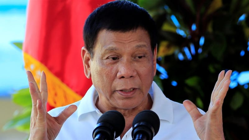 Philippine President Rodrigo Duterte cast doubt on close relations with US after aid suspension [Romeo Ranoco/Reuters]