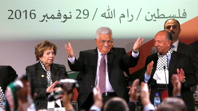 Palestinian President Mahmoud Abbas gestures during Fatah Congress in the West Bank city of Ramallah November 30 [Reuters]
