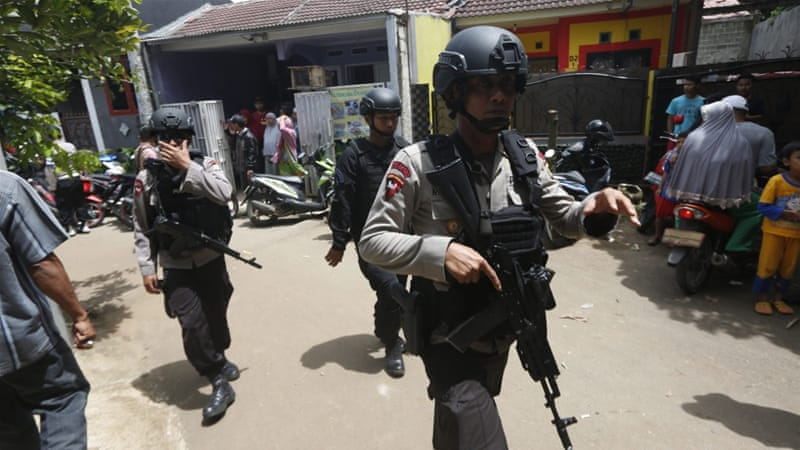 Police foiled a planned suicide bombing, killing three suspects in Jakarta [EPA]