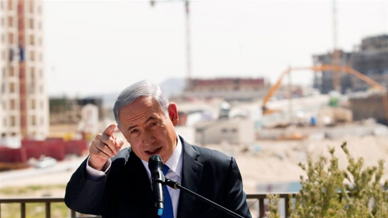 Israeli Prime Minister Benjamin Netanyahu delivers a statement in front of a new Jewish settlement construction site, in the Occupied West Bank [Reuters]