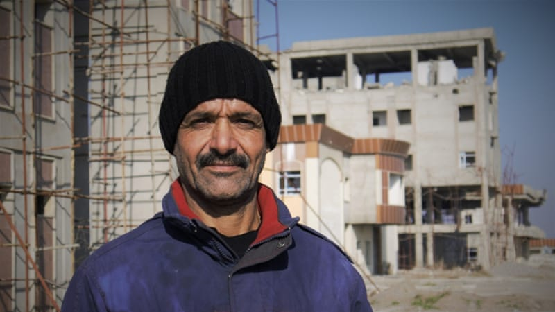 Ahmad Hussein, 63, says Rabia's hospital was just three months away from completion before it was attacked [Tom Robinson/Al Jazeera]