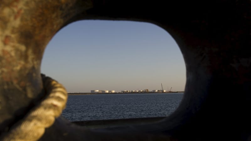 An oil dock is seen from a ship at the port of Kalantari in Chabahar, east of the Strait of Hormuz [REUTERS]