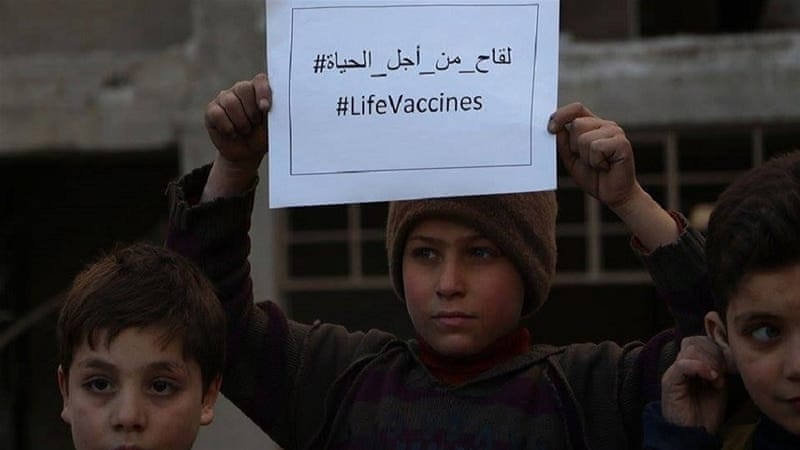 The #LifeVaccines campaign is a social media initiative to bring attention to the dire situation in the Eastern Ghouta area [Courtesy of the Syrian Revolution Network]