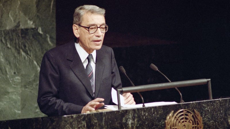 Boutros Boutros-Ghali, then Deputy Foreign Minister of Egypt, addresses the UN General Assembly after being sworn in as the new UN Secretary-General (1991) [AP]