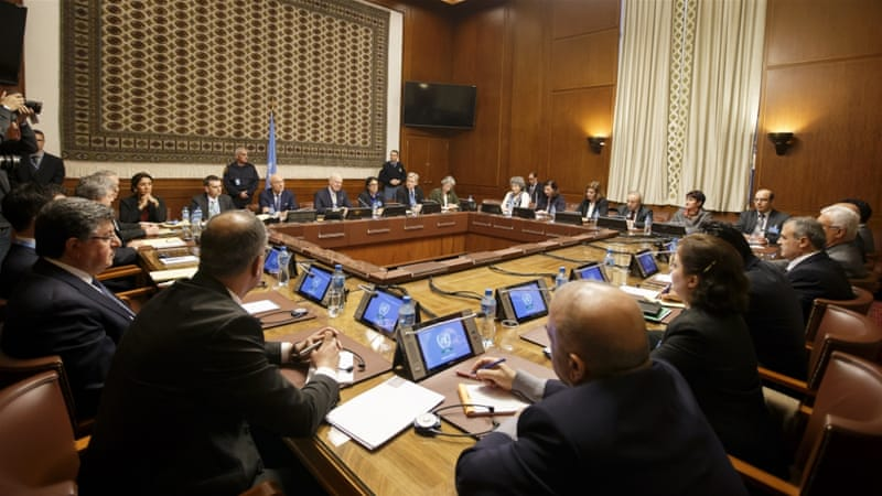 Overview of the Syria peace talks at the European headquarters of the United Nations in Geneva, Switzerland [AP]
