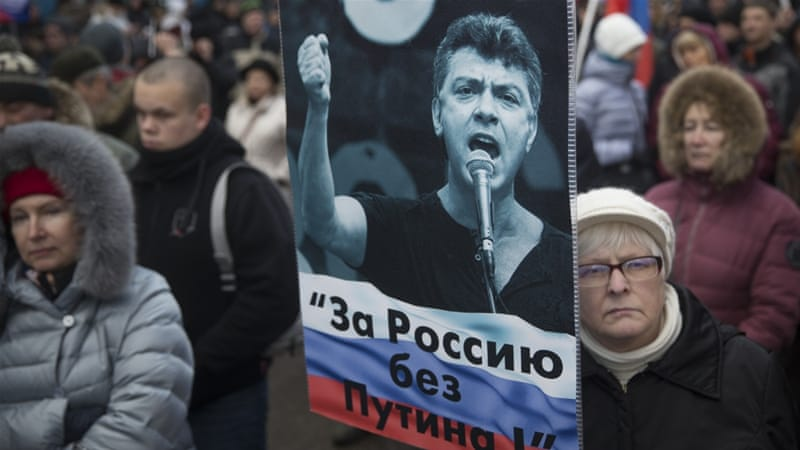 Saturday's rally in Moscow was one of a dozen in major Russian cities honouring Nemtsov [AP Photo/Pavel Golovkin]