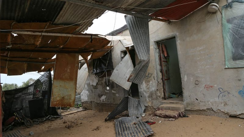 The Abu Khosa family's home was demolished after missile debris hit Gaza  [Ezz Zanoun/Al Jazeera]