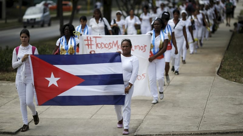 Members of the Ladies in White dissident group march in Havana, March 20, 2016. [Reuters]