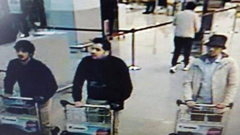 CCTV footage from the airport shows the suspected bombers [Reuters]